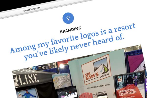 """Slopefillers article, """"Among my favourite logos is a resort you've likely never heard of"""""""